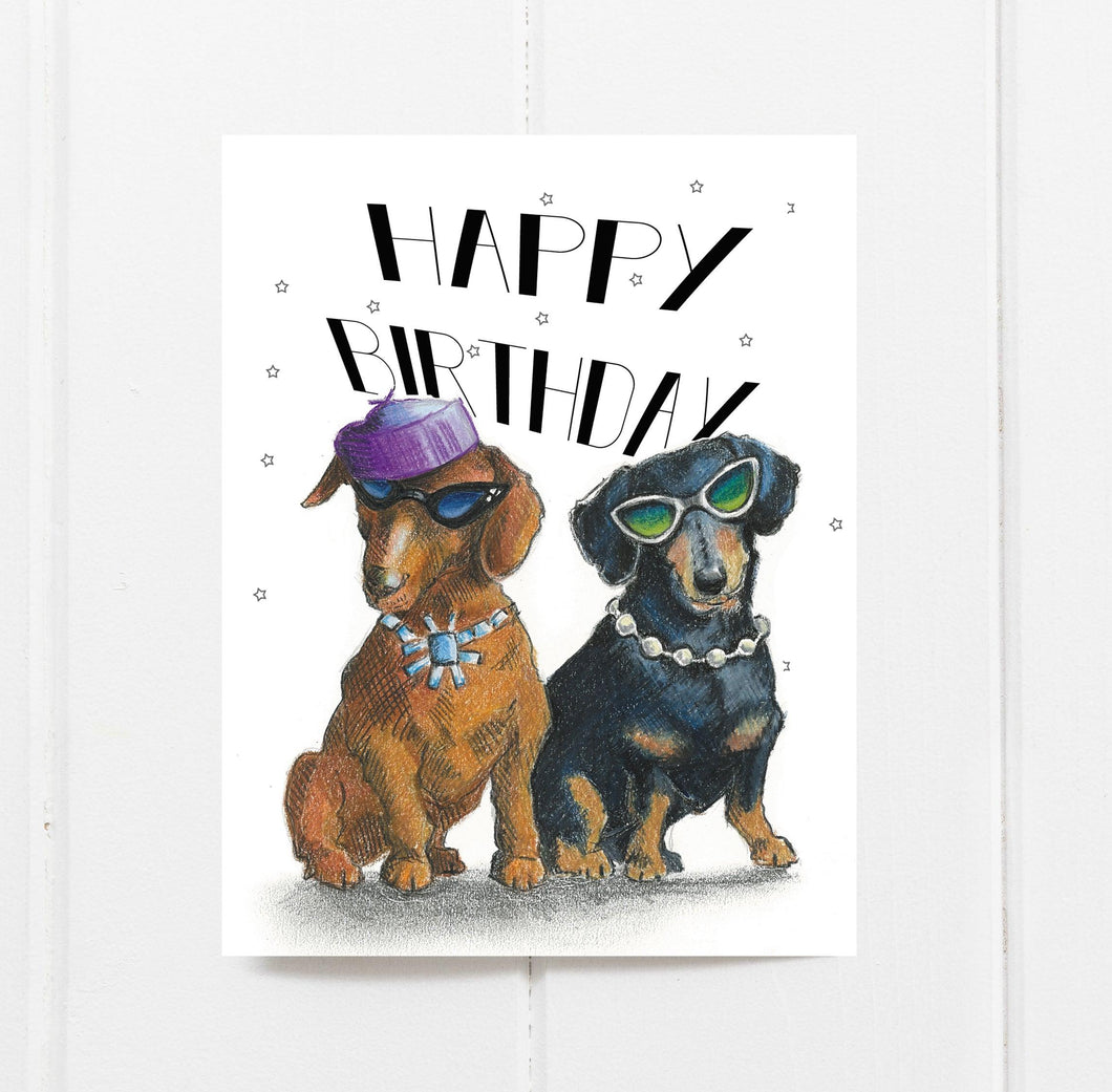 Fabulous Dachshund Birthday Card