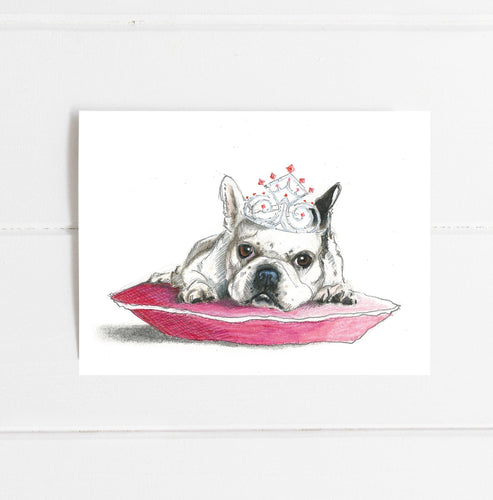 Frenchie Princess Birthday Card