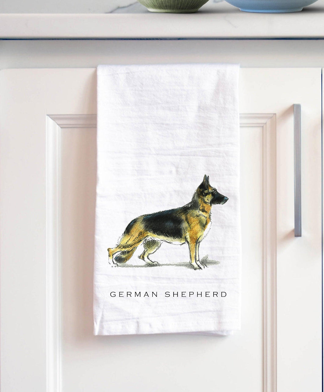 German Shepherd white cotton kitchen towel