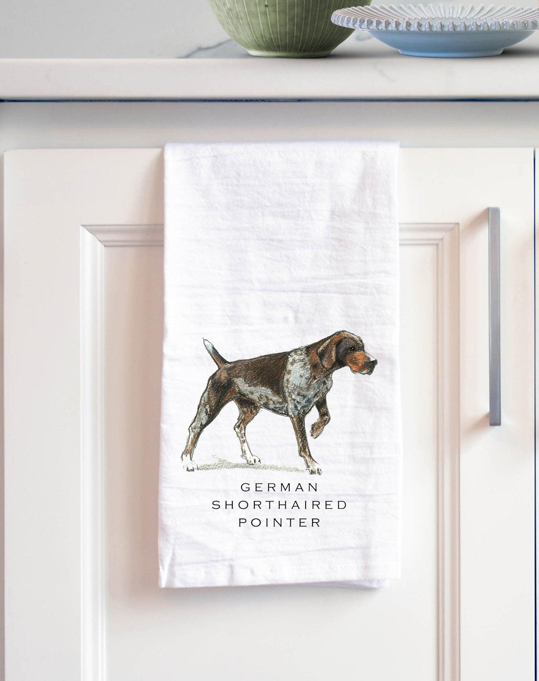 German shorthaired pointer white cotton kitchen towel
