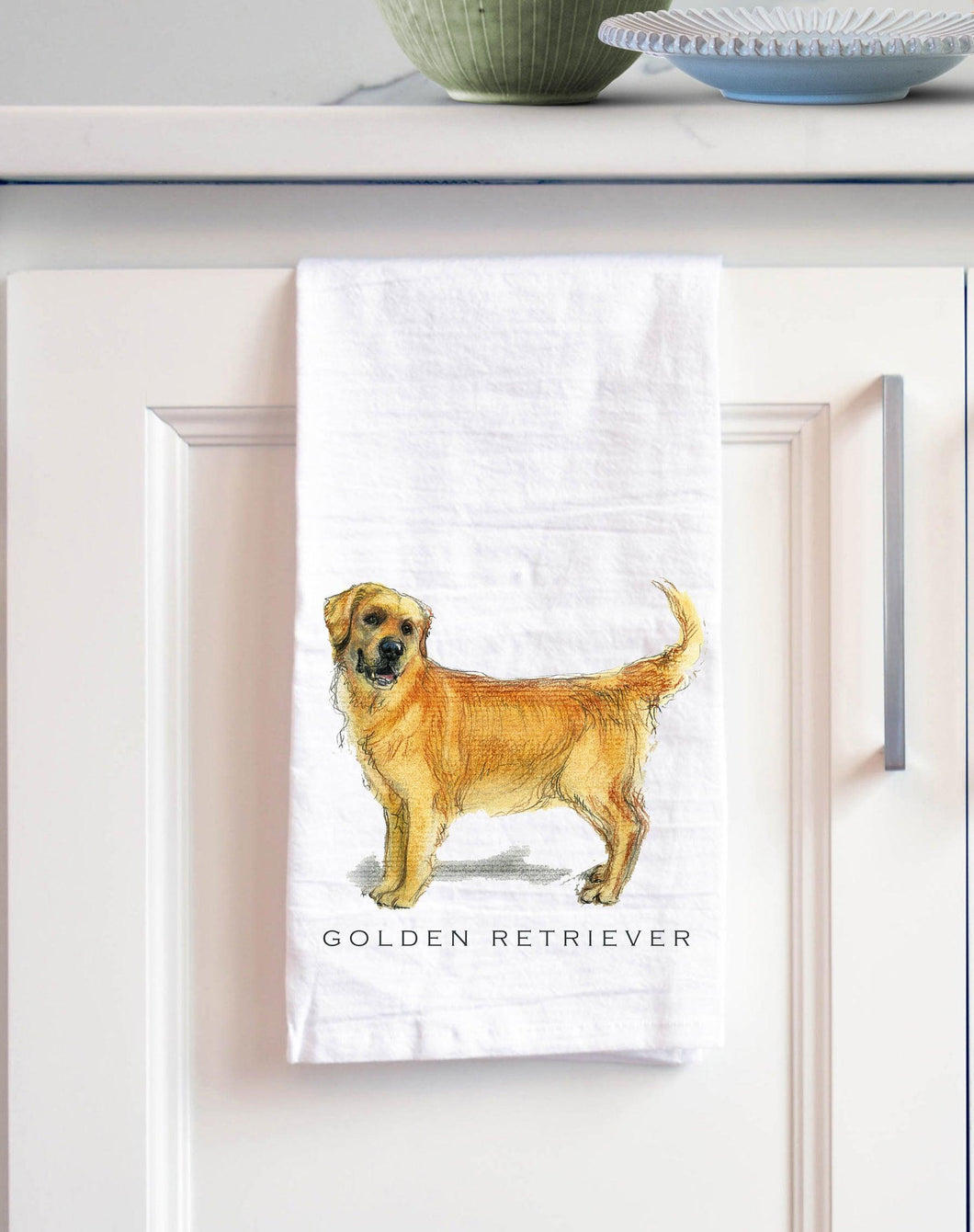golden retriever white cotton kitchen towel