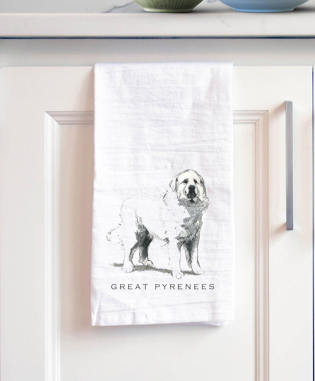 Great Pyrenees white cotton kitchen towel
