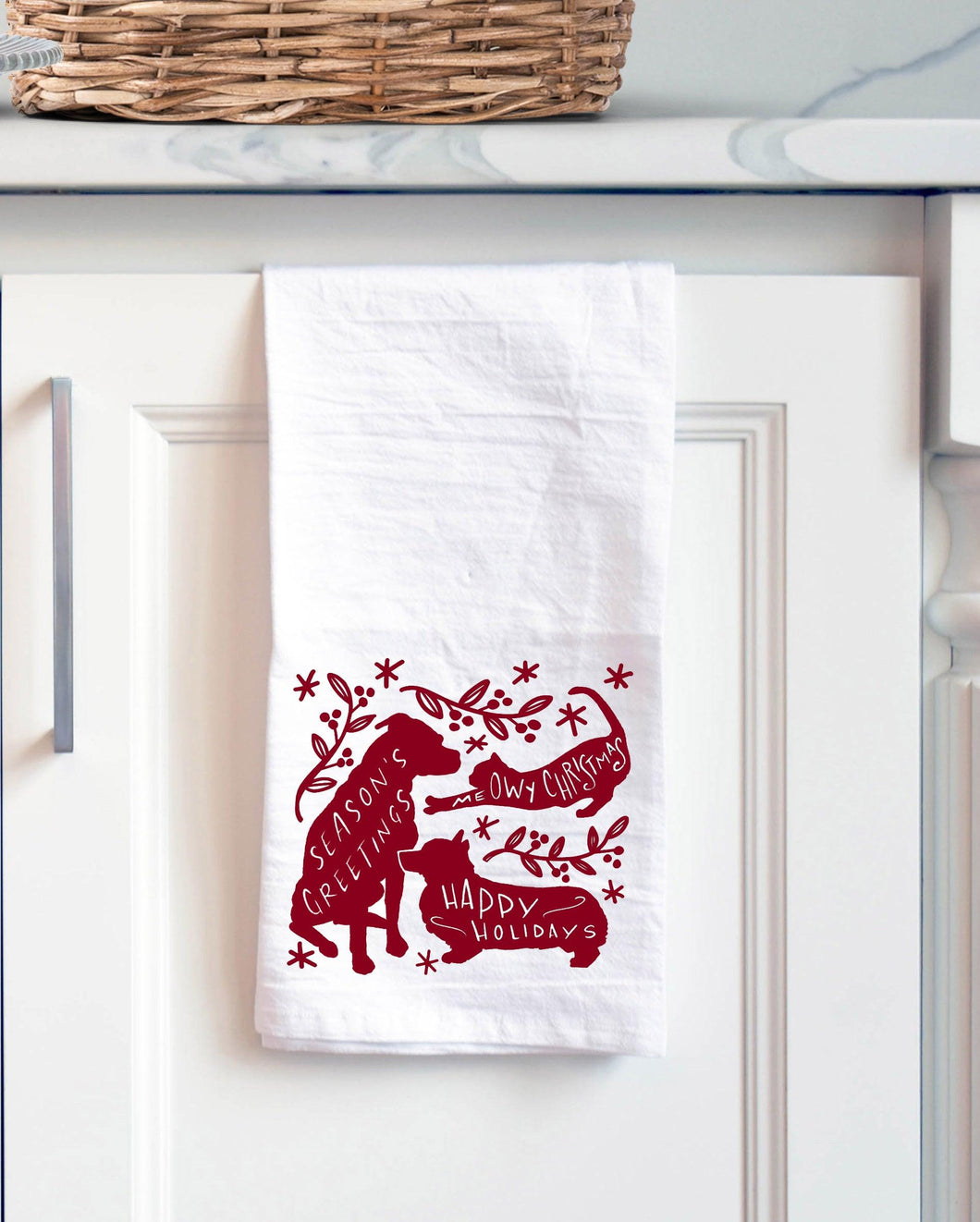 Dog and Cat Holiday Tea Towel