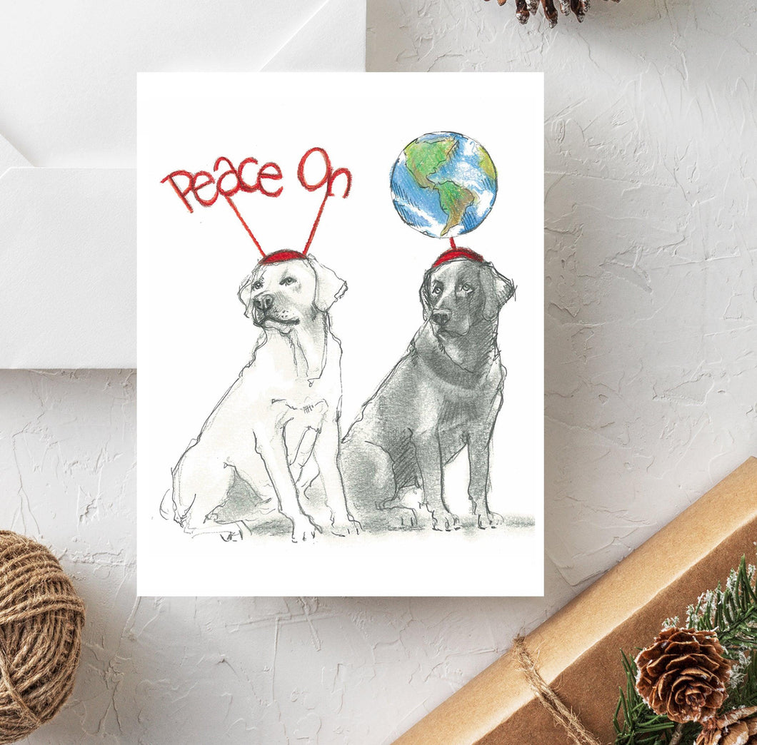 yellow and black labrador christmas card
