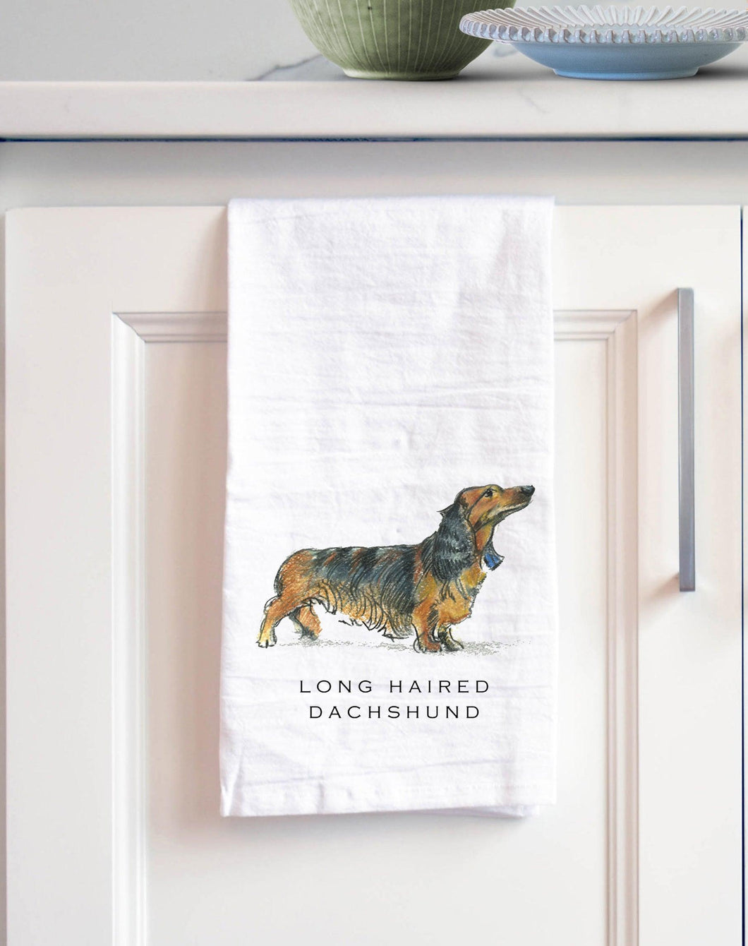 long haired dachshund white cotton kitchen towel