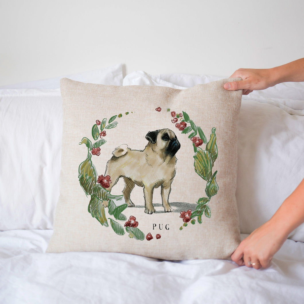 decorative pug pillow