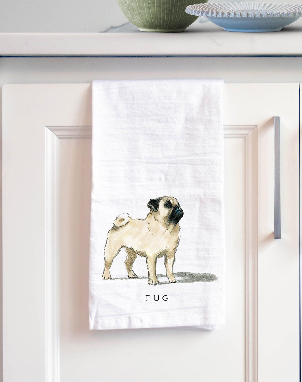 pug white cotton kitchen towel