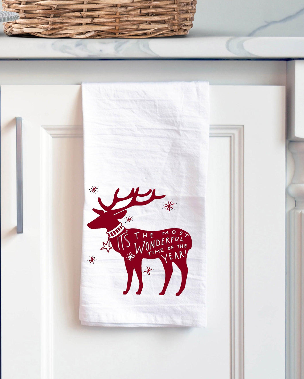 reindeer christmas tea kitchen towel