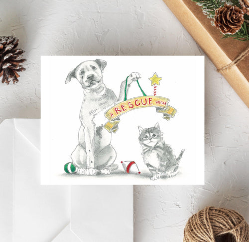 cat and dog rescue christmas card