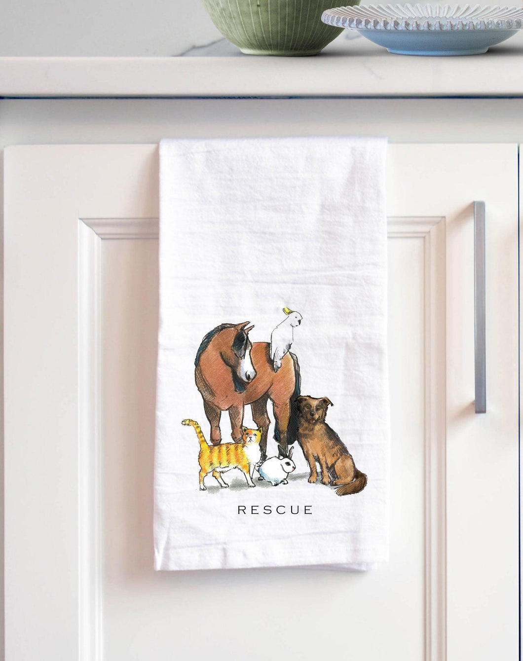 rescue white cotton kitchen towel