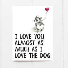 funny valentine card with corgi