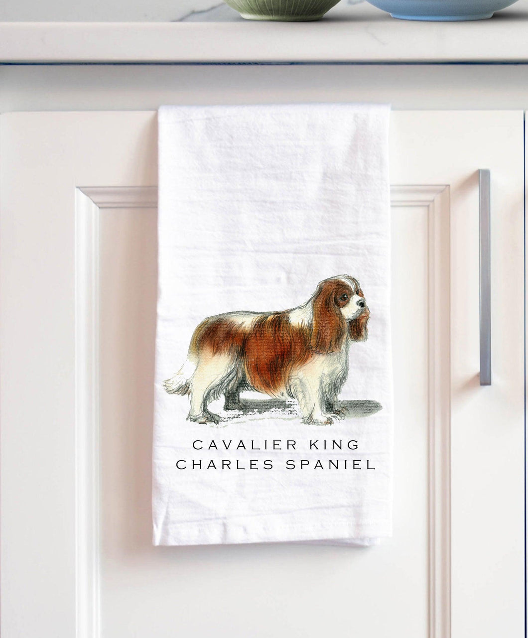 cavalier King Charles white cotton kitchen towel