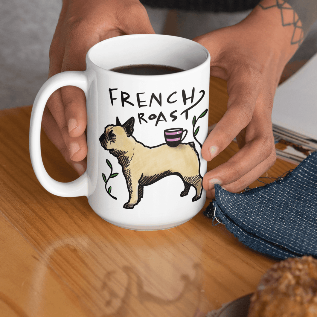 15 oz mug with French bulldog and coffee quote