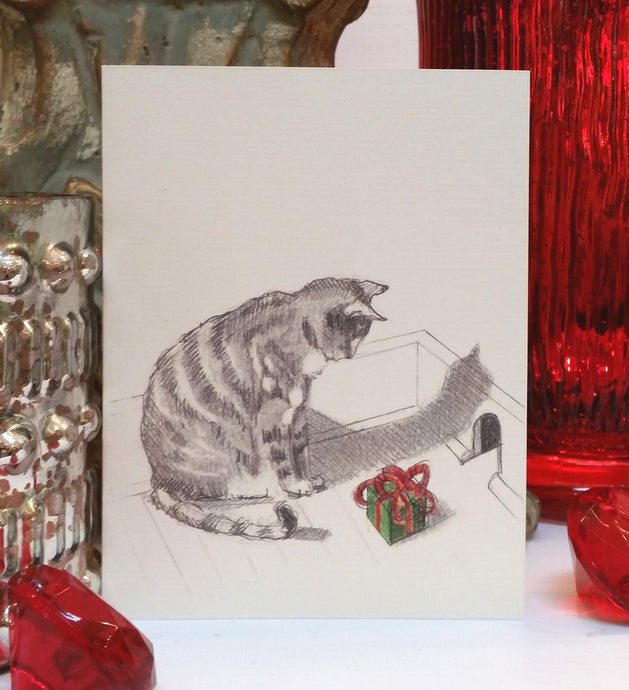 Cat and Mouse Holiday Christmas Card