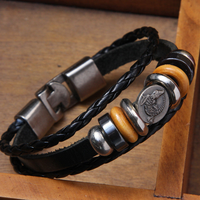Men's Braided Genuine Leather Bracelets - Rock Punk Stainless Steel Cuff Bracelet Bangles*!*