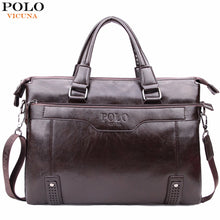VICUNA POLO High Capacity Hollow Out Bottom Men's Leather Briefcase Bag For 14'' Laptop