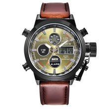 XINEW Mens Quartz Sport Military Army LED Watch With Leather Band and Stainless Steel