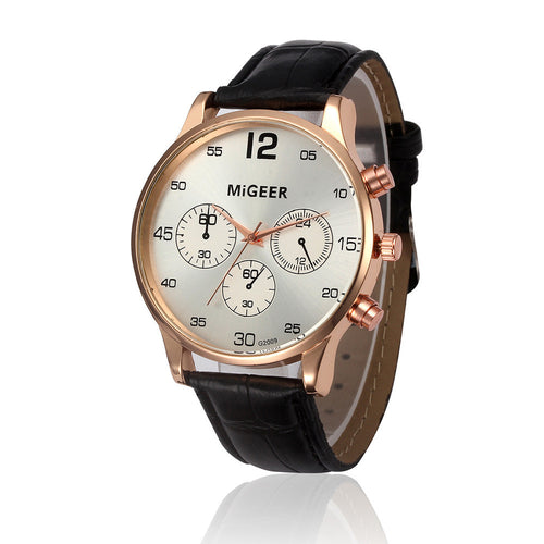 MIGEER 2017 NEW Silver Color Men's watches Fashion leather band Quartz Watch