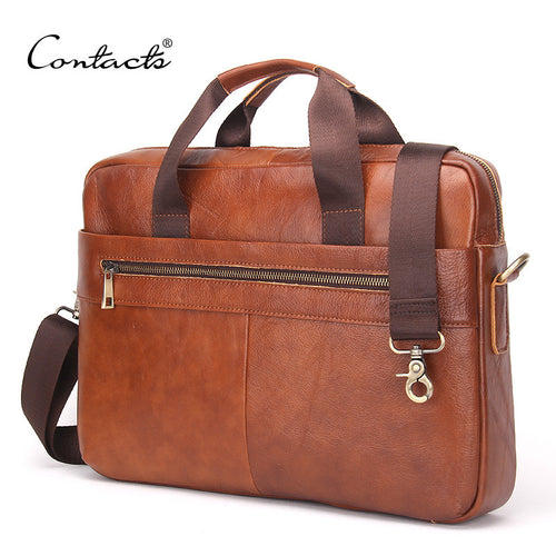 Men's Genuine Cowhide Leather Briefcase / Messenger Bags 14