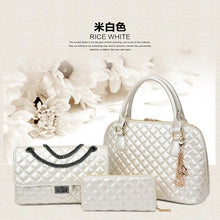Osmond Style Ladies 3 Bags/Set Solid Lattice PU Leather