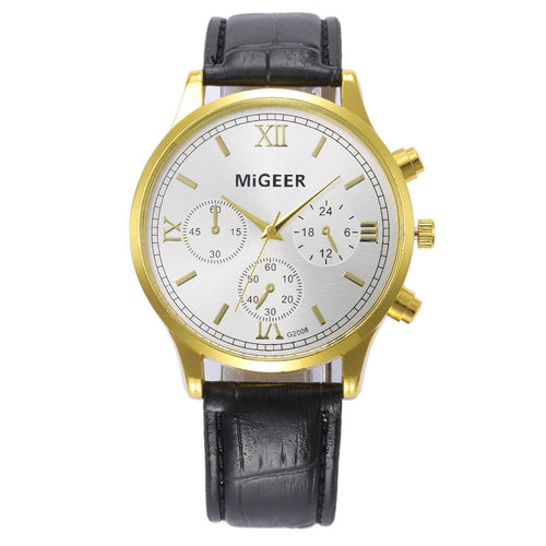 MIGEER Men's Watch Military Retro Design Leather Band Analog Quartz Watch
