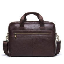 "Men's Genuine Cowhide Leather Briefcase / Messenger Bags 14"" Laptop"