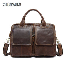CHISPAULO Genuine Leather Men's Briefcase / Laptop Bag 14''