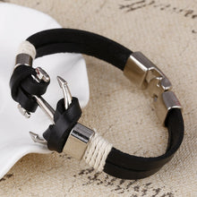 ZOSHI Men's Leather Pirate Style Alloy Anchor Bracelet*!*