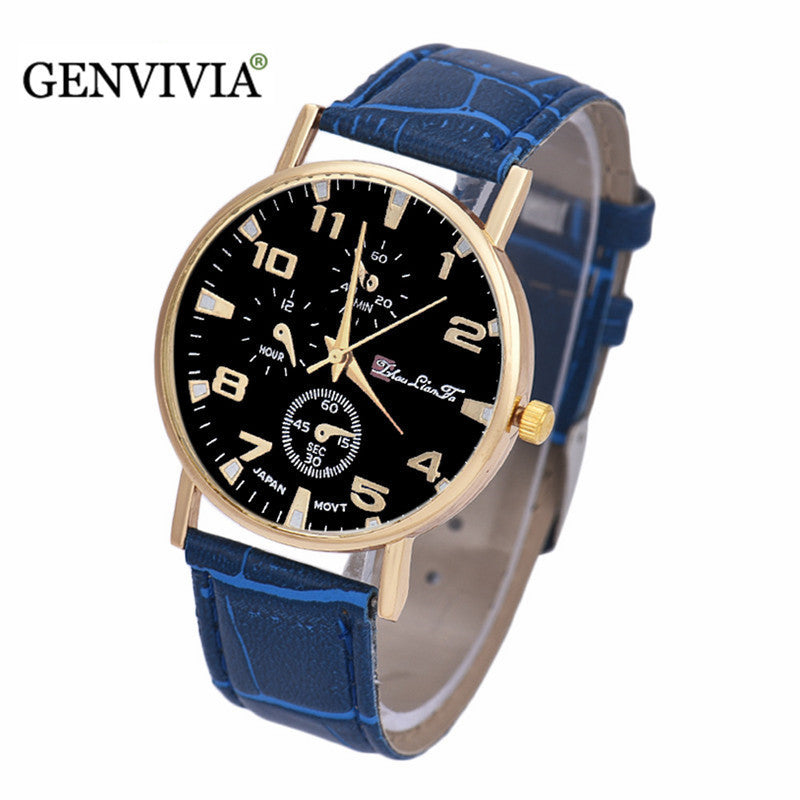 GENVIVIA Men's Fashion Leather Band Analog Quartz Business Wrist Watch