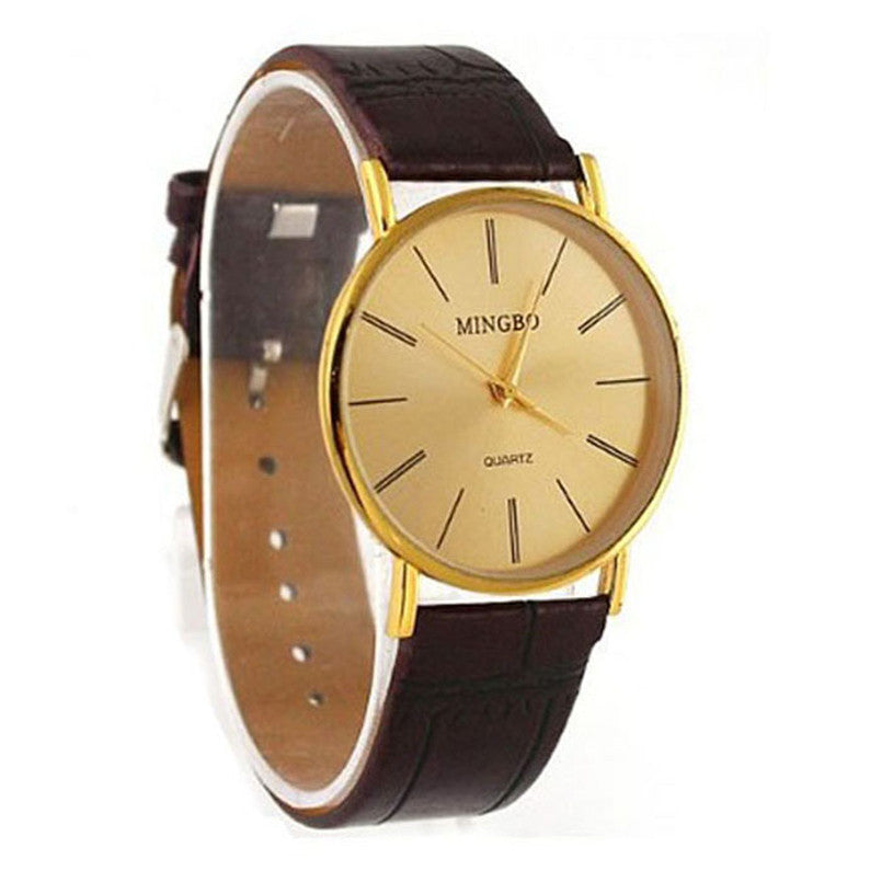 Men's GENVIVIA Leather Band Quartz Wrist Watch