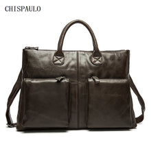 CHISPAULO Genuine Leather Vintage Men's Bag / 14inch With Oil Wax