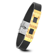 Men's Black Genuine Leather & Stainless Steel Bracelet