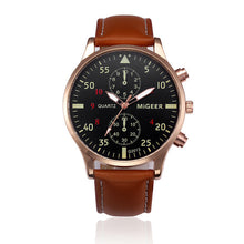 MIGEER Men's Fashion Leather Band Quartz Watch