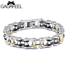 Men's Bicycle Link Chain Bracelet  Black Gold Color  Stainless Steel