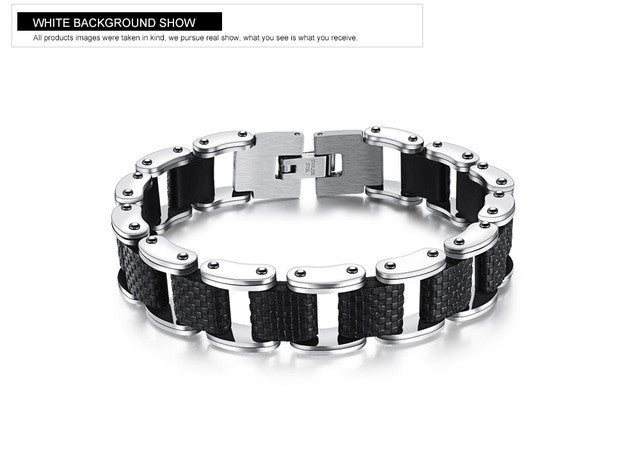 Mens Stainless Steel Bangle Rope Chain Wristband