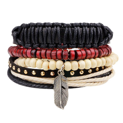 Men's Braided Leather Stainless Steel Cuff Bangle Bracelet Wristband Fashion