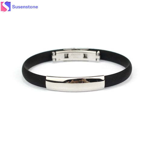Men's Stainless Steel Cuff Silicone Bangle Bracelet