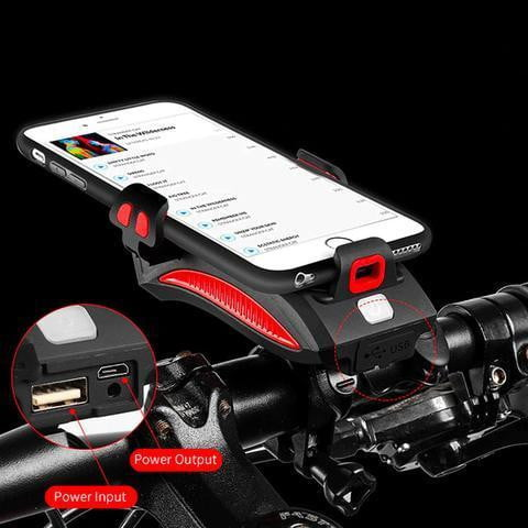 Bike Phone Mount with Power Bank, Light and Bell
