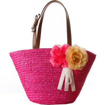 Double Flower Straw Tote Bag