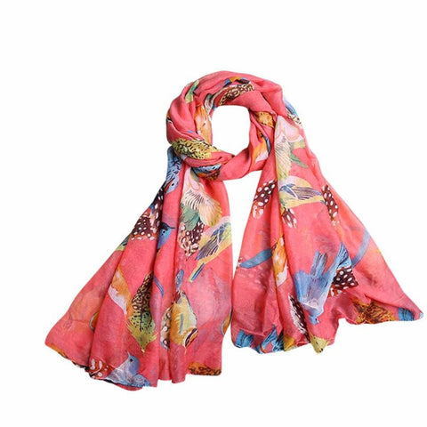 100% Silk Scarf w/ Leaves Birds Print