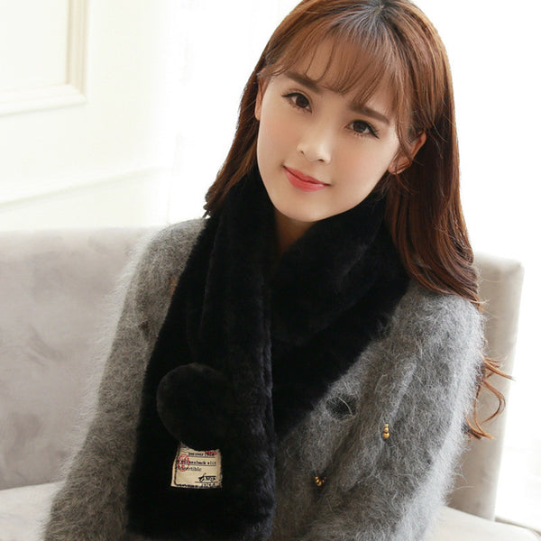 Winter Faux Rabbit Fur Collar Scarf