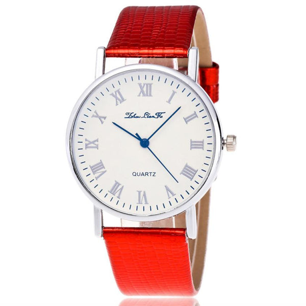 Time Pattern Leather Band Quartz Watch