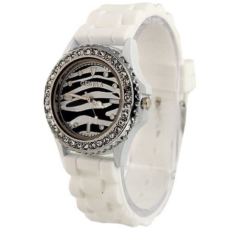 Zebra Strip Stainless Steel Watch
