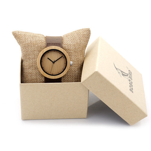 BOBO BIRD D18/1-6 Wooden Bamboo Watch w/Genuine Brown Leather Strap
