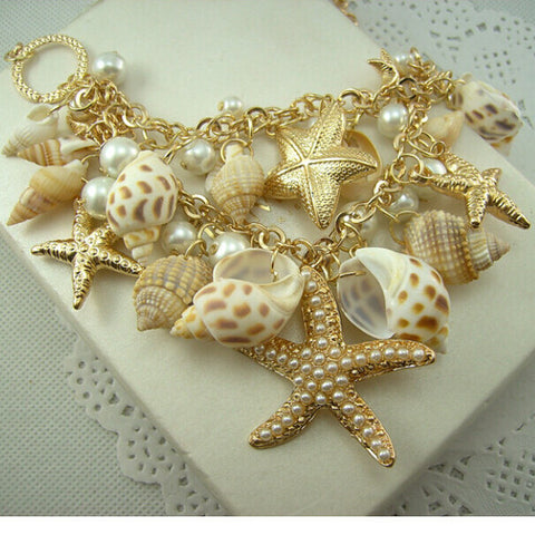 Gold Color Big Starfish Statement Necklace
