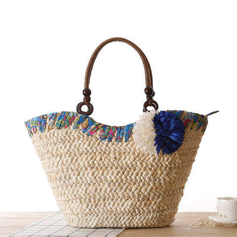 Weave Straw Flower Tote Bag