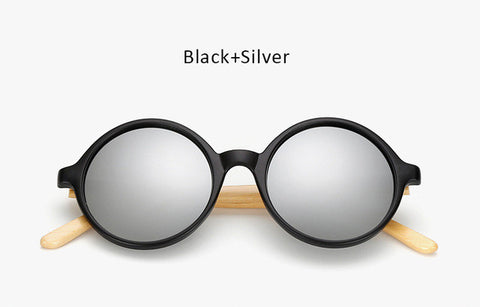 Bamboo Mirror Round Sunglasses