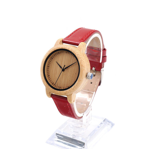 BOBO BIRD J09 Bamboo Women Watch w/Red PU Leather Band