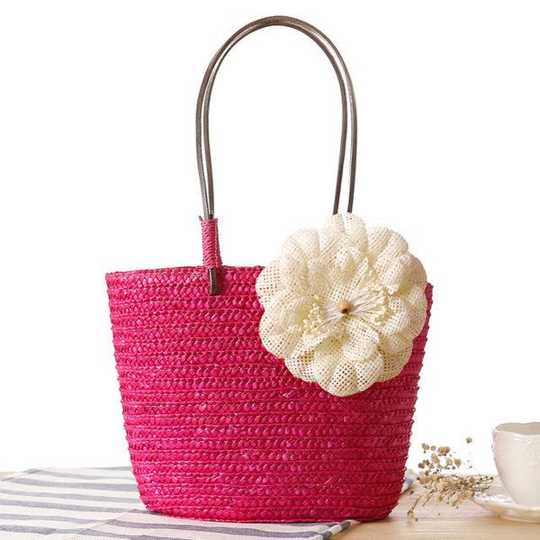 Flower Straw Tote Bag