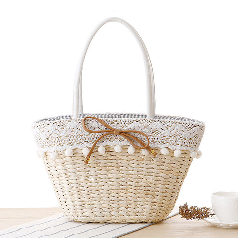 Fashion Straw Weave Lace Tote Bag